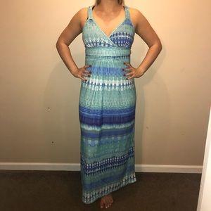 Blue Aztec tie-dye maxi dress